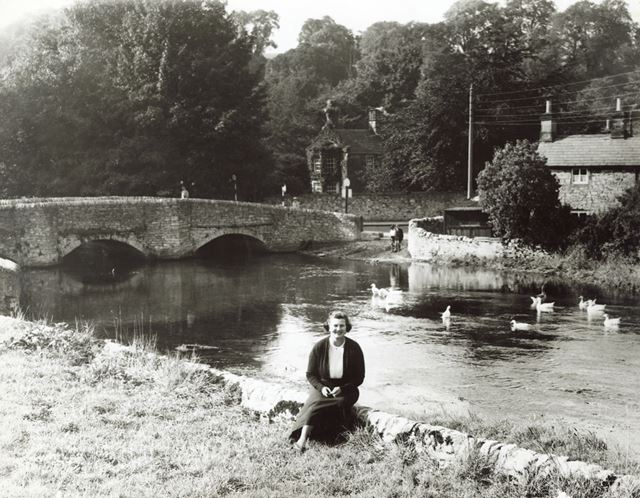 River Wye and Sheepwash Bridge with unidentified woman, Ashford in the Water, c 1940s ?