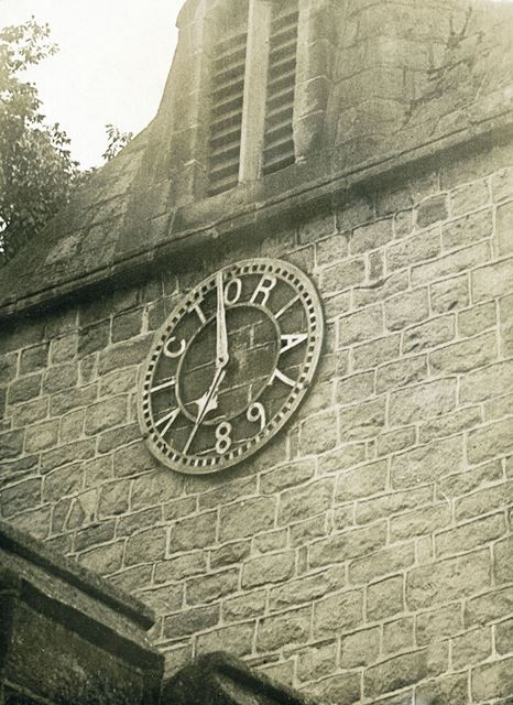 Jubilee clock on tower of St Anne's Church, Baslow, c 1930s ?