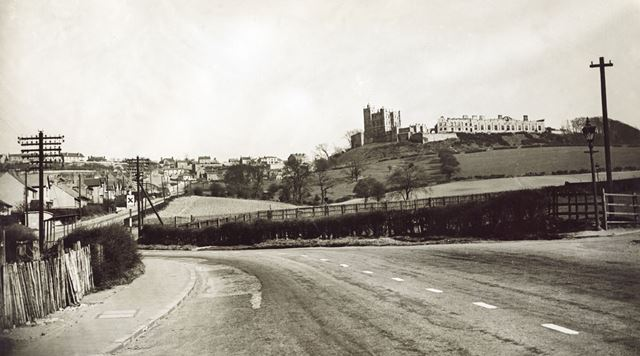 Station Road and Castle, Bolsover, c 1940s ?