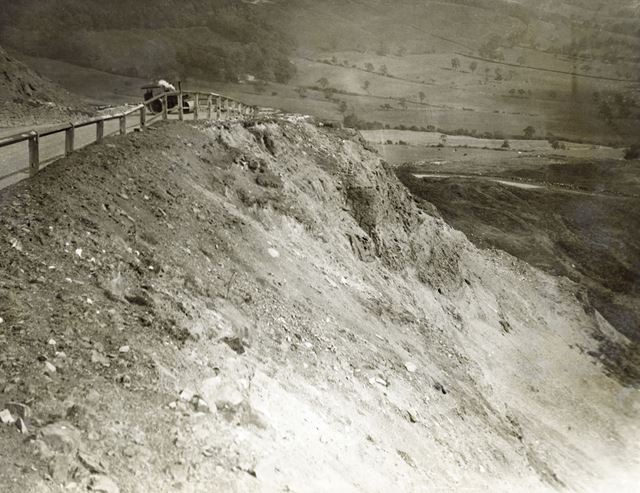 Crumbling main road on Mam Tor, Castleton, c 1940s ?