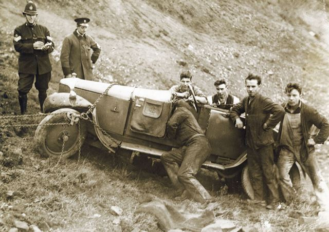 Aftermath of a road accident on Mam Tor, Castleton, 1930