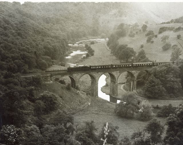 Express passenger train crossing the railway viaduct, Monsal Dale, 1950s