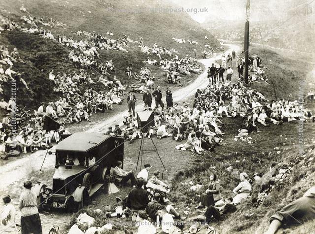 Ramblers meet in the Winnats Pass, Castleton, c 1930s