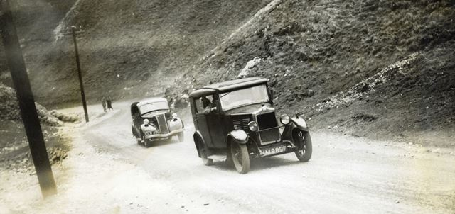 Motor cars using the newly surfaced road up the Winnats Pass, Castleton, c 1930s