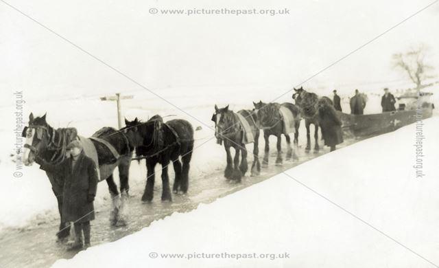 Horse-drawn snow plough, unknown location in Derbyshire, 1942
