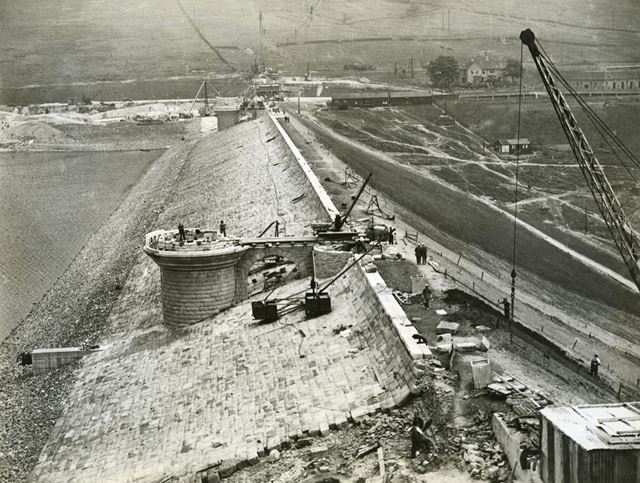 Building the dam wall during the construction of Ladybower Reservoir, c 1940s