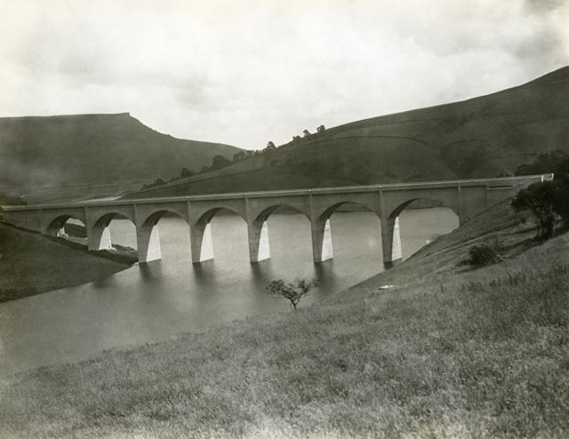 Ashopton Viaduct over Ladybower Reservoir, c 1945