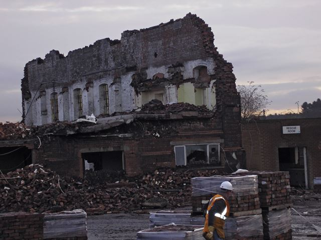 Demolition of Rescue Room, Clipstone Colliery, off Mansfield Road, Clipstone, 2007