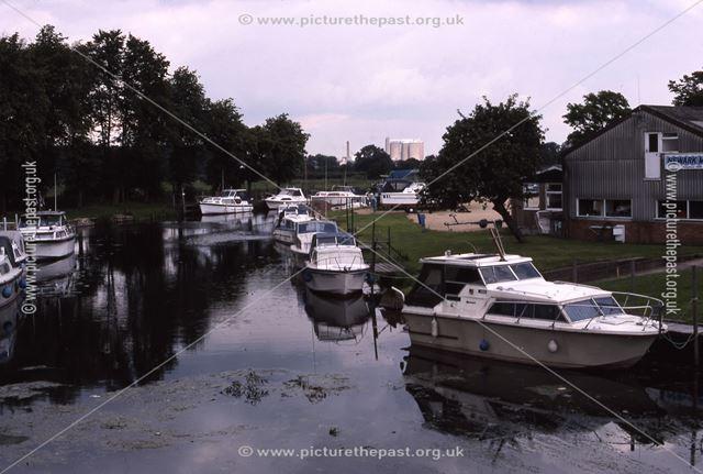 River Devon and Marina from Devon Bridge, Newark, 1987