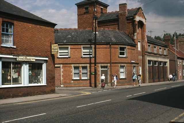 Trent Music Shop and Old Fire Station, Victoria Street/Pelham Street, Newark, 1987