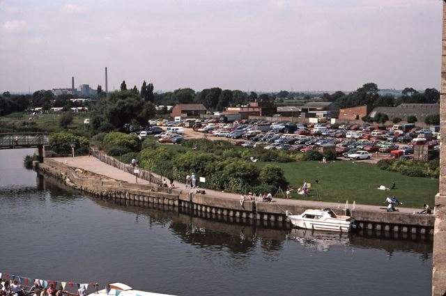 Town Locks and Tolney Lane from Castle Walls, River Trent, Newark, 1987
