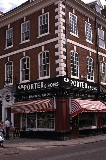 Porter and Sons Bacon Shop, Market Place, Newark, 1987