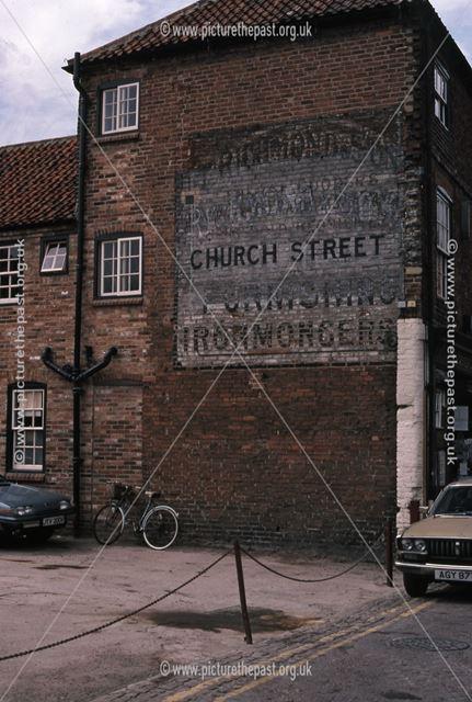 Old Sign writing on side of Bike Shop, Boar Lane  Newark, 1987