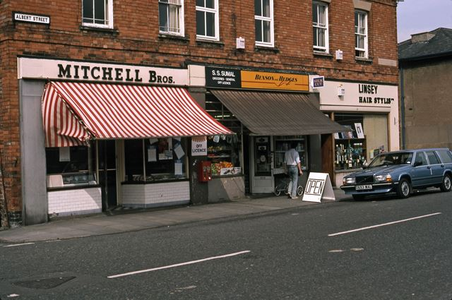 Butcher's, General Stores and Hairdresser's, Albert Street, Newark, 1987