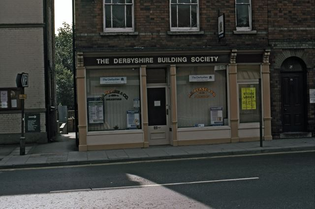 Lombard Street opposite car park and Derbyshire Building Society, Newark, 1987