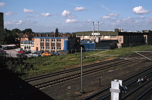 Railway Bridge Looking North with Meritina's Factory, Beacon Hill Road, Newark, 1987