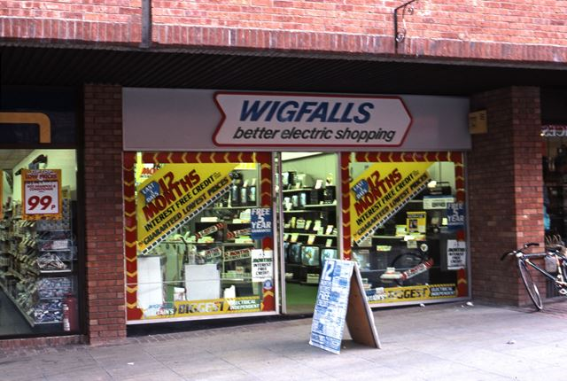 Wigfalls Electrical Appliances Shop, St. Mark's Shopping Precinct, 1987