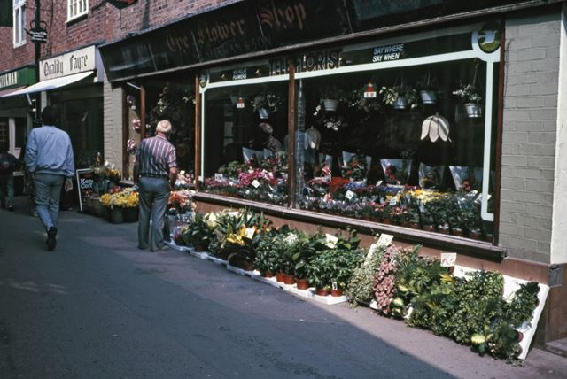 Florists, Café/Health Food and Greengrocers Shops, Chain Lane, Newark, 1987
