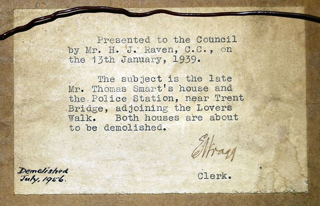 Endorsement on Rear of Picture, Police Station, Trent Bridge, Nottingham, 1939