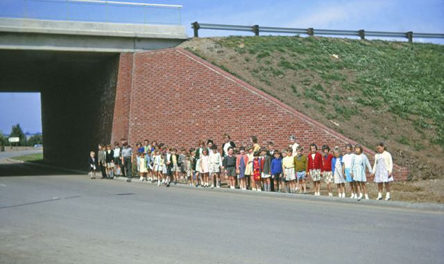 Pupils from North Muskham School Awaiting Official Opening of New A1, North Muskham, 1964