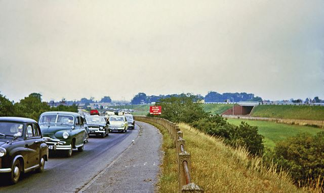 Queues of Traffic on the Great North Road, North Muskham, 1964