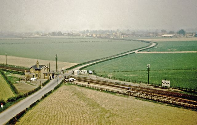 Level Crossing on East Coast Mainline, from St. Wilfred's Church, South Muskham, 1962