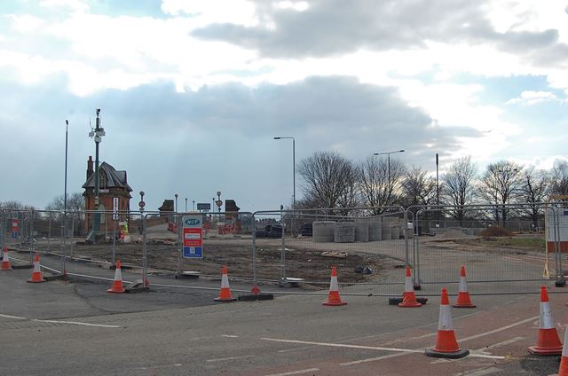 Construction of NET (tram system) Extension to Clifton, Wilford Toll Bridge, Nottingham, 2013