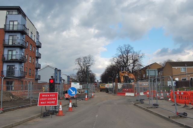 Construction of NET (tram system) Extension to Clifton, Queen's Drive, Nottingham, 2013
