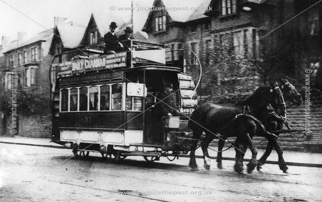Horse tram on Mansfield Road, Sherwood, Nottingham, c 1900