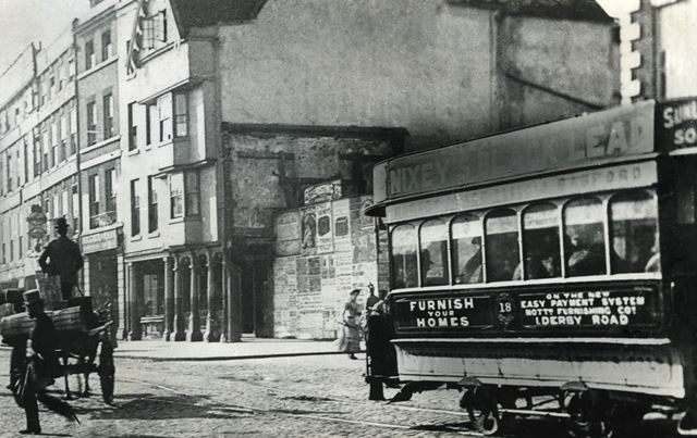 Horse tram on Long Row, Nottingham, c 1895 ?