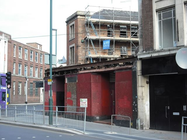 Demolition of former Woolworths' store at junction of Hockley and Cranbrook Street, Nottingham, 2013