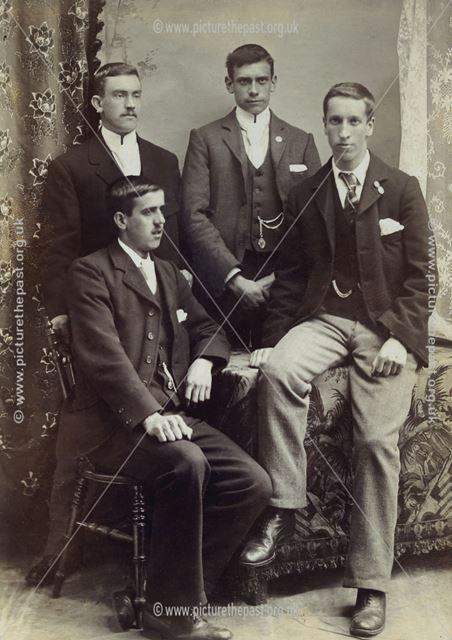 Studio portrait of four young men, Sutton in Ashfield, c 1899