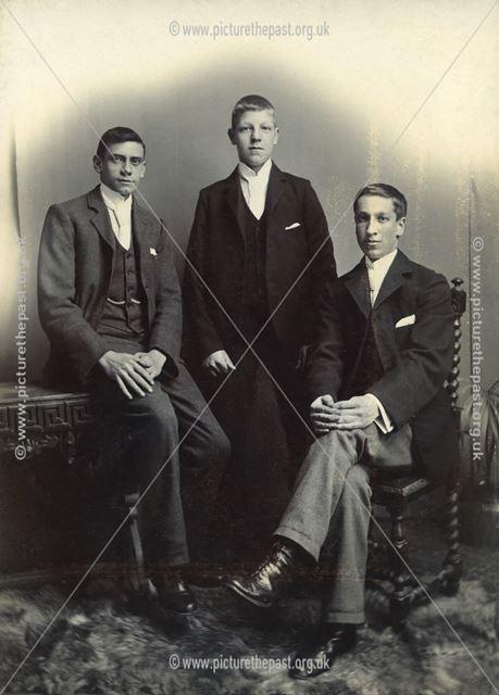 Studio portrait of three young men, Sutton in Ashfield, c 1901