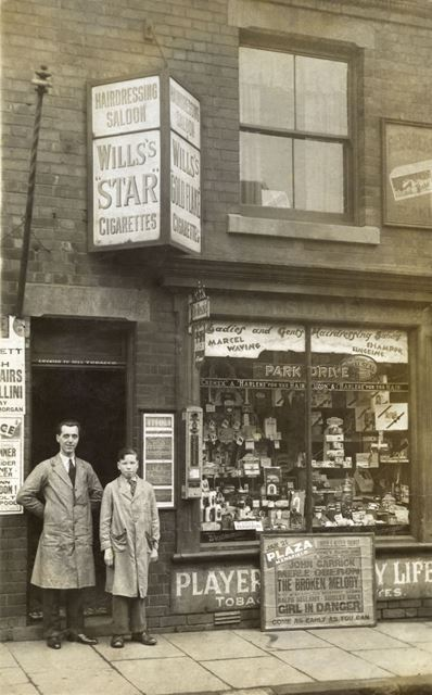 T S Lake's tobacconist's and hairdressing saloon, Sherwood Street, Mansfield, c 1935