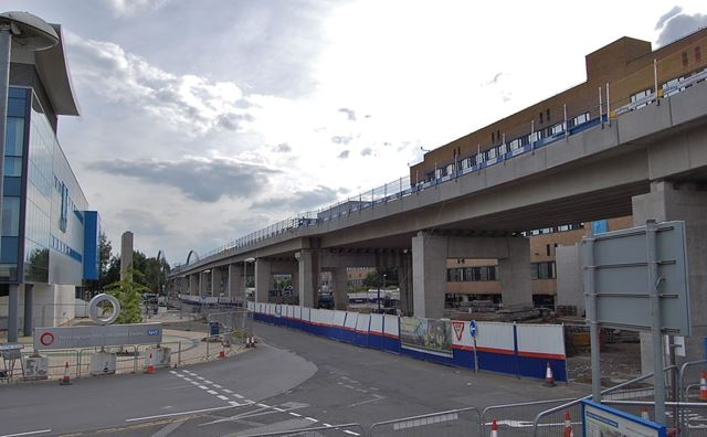 Construction of the tram flyover through the grounds of the QueenÆs Medical Centre, Nottingham, 2014