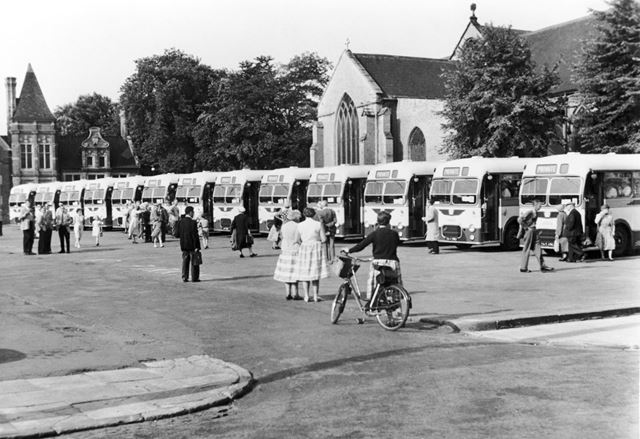 A line-up of excursion buses on Hucknall Market Place