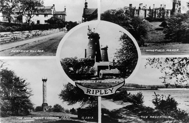 Postcard showing five views of Ripley and District, c 1940s
