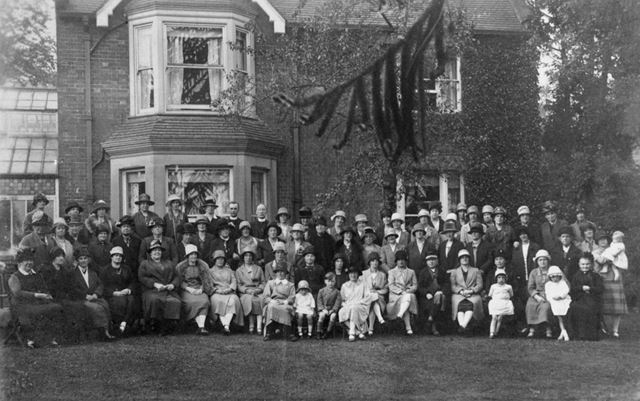 Group photographed outside Mr Woolley's House, Loscoe, c 1910s-20s