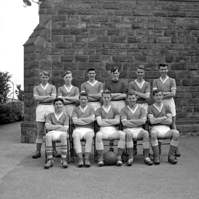 Football Team, Herbert Strutt School, Derby Road, Belper, 1958