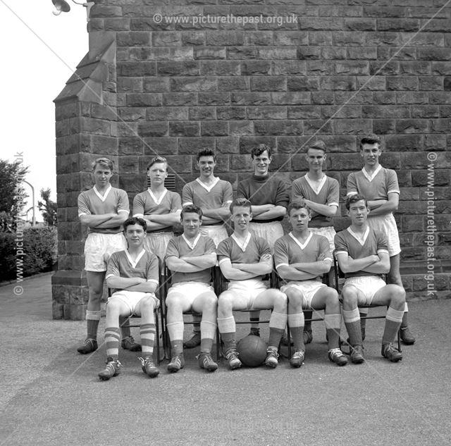 Football Team, Herbert Strutt School, Derby Road, Belper, 1958