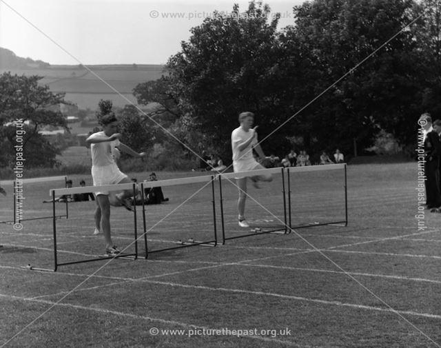 Sports Day - Hurdles, Herbert Strutt School, Derby Road, Belper, 1960