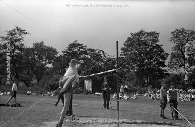 Sports Day - High Jump, Herbert Strutt School, Derby Road, Belper, 1960