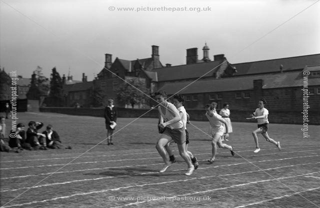 Sports Day - Relay Race, Herbert Strutt School, Derby Road, Belper, 1960