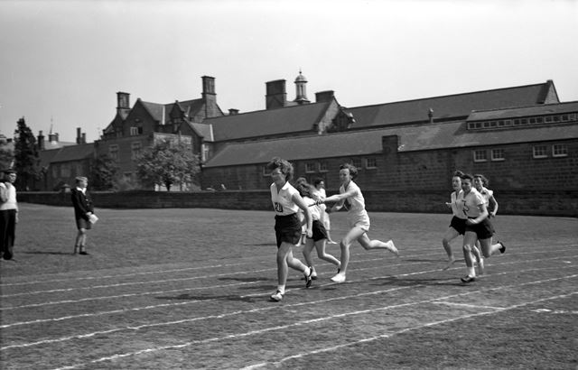 Sports Day - Relay Race, Herbert Strutt School, Derby Road, Belper, 1960