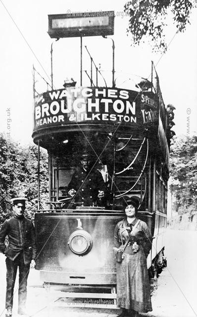 Ripley-Nottingham Tram, Nuthall, 1913
