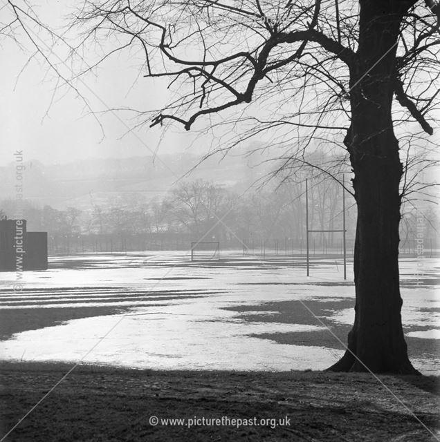 Frozen Playing Field at Herbert Strutt School, Derby Road, Belper, 1965
