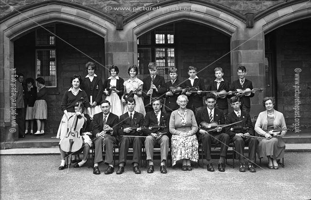 Portrait of Orchestra, Herbert Strutt School, Derby Road, Belper, 1961