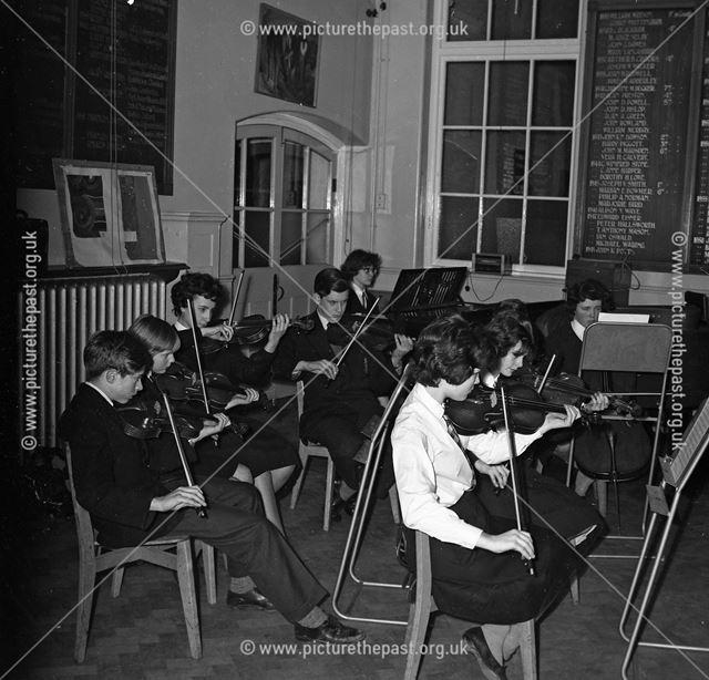 The Orchestra Rehearsing, Herbert Strutt School, Derby Road, Belper, 1962