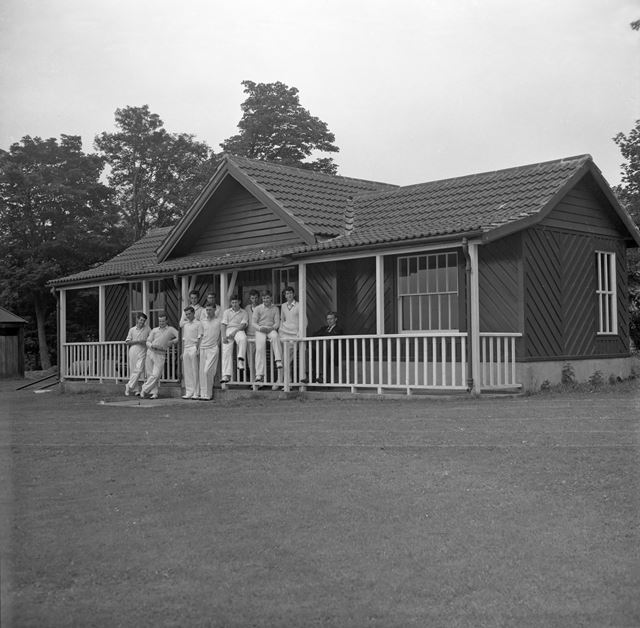 Cricket Team at the Pavilion, Herbert Strutt School, Derby Road, Belper, c 1960s