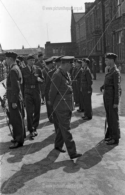 Cadets Inspection, Herbert Strutt School, Derby Road, Belper, 1961